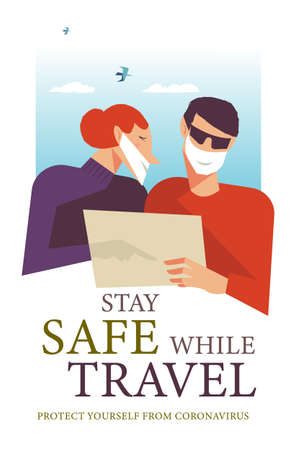 Stay safe while traveling. Vector poster encouraging people to wear masks. Traveling in medical masks, a couple looks at a map of the area. Çizim
