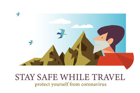 Stay safe while traveling. Vector poster encouraging people to wear masks. The guy is traveling in the mountains in a medical mask Çizim