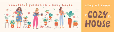 Stay at home. Create a home garden. Collection of girls florists who grow potted flowers. Vector illustration.