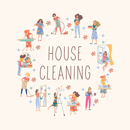 House cleaning. Cute girls do their homework. Girls wash Windows, vacuum, wash clothes, put clothes in the closet, wash the chandelier, wash dishes and mirror. Çizim