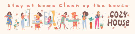 Cozy house. Stay at home. Clean the house. Cute girls do their homework. Girls wash Windows, vacuum, wash clothes, put clothes in the closet, wash the chandelier, wash dishes and mirror.
