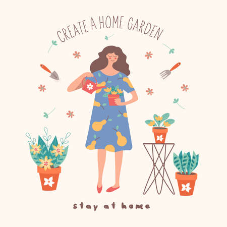 Stay at home. Create a home garden. Girl florist watering potted flowers. Vector illustration. Cute postcard on a light background. Çizim