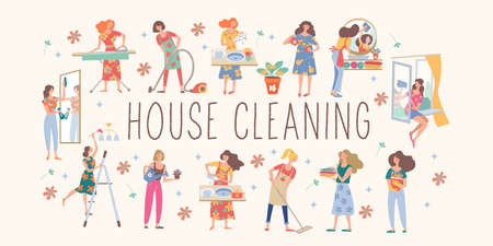Cute girls are doing house cleaning. Housewives wash dishes, vacuum, wash clothes, wash Windows and mirrors, water flowers, iron clothes, put clothes in the closet. Çizim
