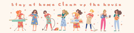 Stay at home. Clean the house. Cute girls do their homework. Girls wash Windows, vacuum, wash clothes, put clothes in the closet, wash the chandelier, wash dishes and mirror.