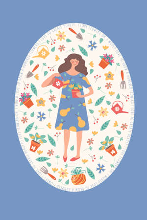 Cute girl with a flower pot. Oval frame with flowers, leaves and garden accessories. Cute spring flower frame. Quotes about flowers.