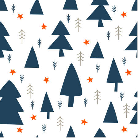 Seamless winter pattern. Blue Christmas trees on a white background. Vector illustration. Çizim