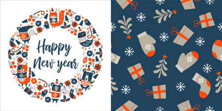 Happy new year. Cute animals in warm sweaters. Greeting vector card. Seamless pattern on blue background. Gifts, Christmas trees and mittens. Çizim