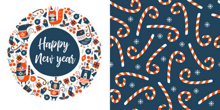 Happy new year. Cute animals in warm sweaters. Greeting vector card. Seamless pattern. Striped lollipops on a blue background.