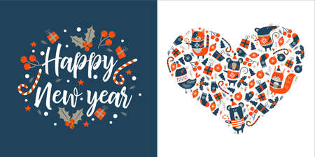 Happy new year. Greeting vector card. Cute animals in warm sweaters, gifts, Christmas trees, Christmas toys. All elements are enclosed in the shape of a heart.