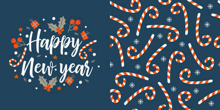 Happy new year. Greeting vector card. Seamless pattern. Striped lollipops on a blue background.