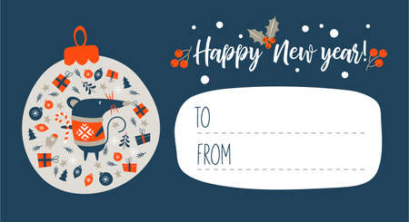 Happy New Year !. Invitation to a festive event with a cute mouse, a symbol of the new year 2020. Vector illustration. Dark blue background and space for your text. Nice new year letter. Çizim