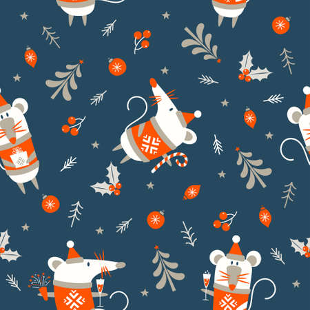 Seamless Christmas pattern on dark blue background. Year of the mouse. White mouse and Christmas decor. Vector illustration.