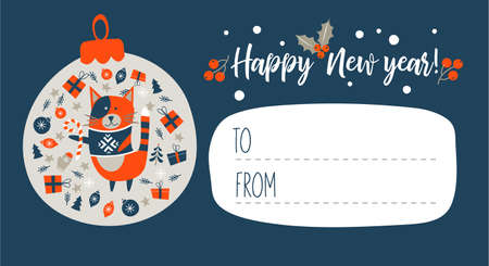 Happy New Year !. Invitation to a festive event with a cute cat in a knitted sweater. Vector illustration, greeting Christmas card.