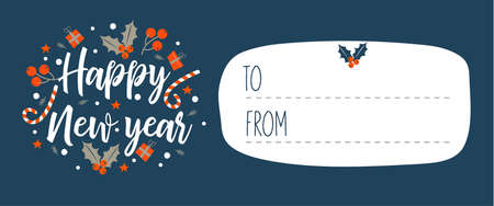 Happy New Year! Invitation to a festive event. Vector illustration, greeting Christmas card. Cute Christmas wreath.