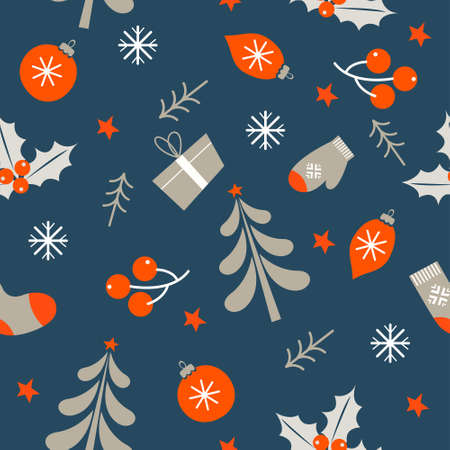 Seamless Christmas pattern on light background. Christmas decor, Christmas decorations, Holly, Christmas trees, boxes with gifts. Vector illustration.