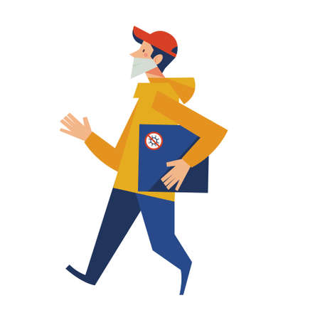 Delivery. Contactless delivery. A courier in a medical mask delivers a box. Online purchases during the quarantine. Online application. Delivery. Contactless delivery. A courier in a medical mask delivers a box. Online purchases during the quarantine. Çizim