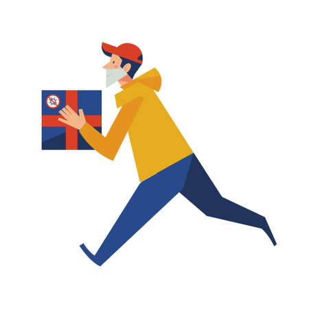 A courier in a medical mask delivers a box. Online purchases during the quarantine. Ilustración de vector