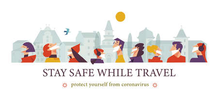 Stay safe while traveling. Vector poster encouraging people to wear masks. A men and a women in medical masks travel through a beautiful city. Çizim