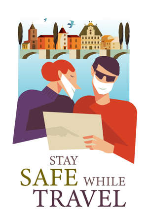 Stay safe while traveling. Vector poster encouraging people to wear masks. A man and a woman in medical masks travel through a beautiful city.