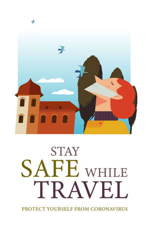 Stay safe while traveling. Vector poster encouraging people to wear masks. A girl in a medical mask walks around the city.