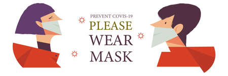 A man and a girl in medical masks. Please put on your mask. Vector poster encouraging people to wear masks during the coronavirus pandemic. Çizim