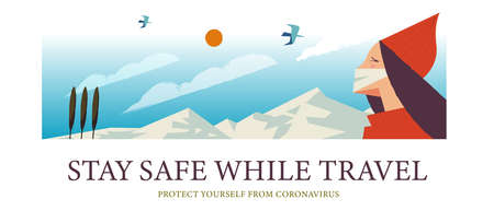 Stay safe while traveling. Vector poster encouraging people to wear masks. A beautiful girl in a mask is traveling in the mountains. Çizim