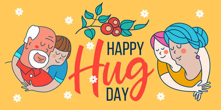 Happy hug day. Happy grandparents and grandchildren hug each other. Vector greeting card, illustration.