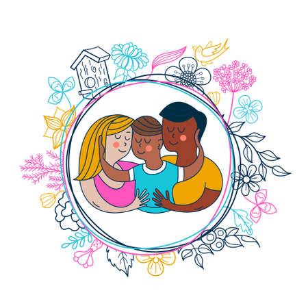 Happy hug day. Family Day. Happy family, mom, dad and baby hugging each other. Vector greeting card, illustration. Ilustración de vector