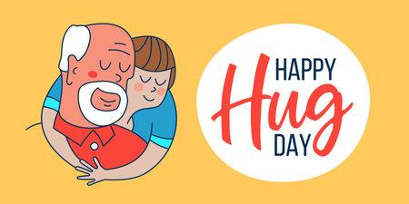 Happy hug day. Happy grandfather and grandson hug each other. Illusztráció