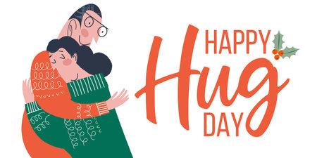 Happy hug day. Happy people hug each other.