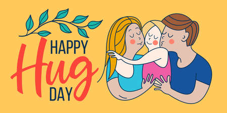 Happy hug day. Family Day. Happy family, mom, dad and baby hugging each other.
