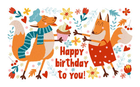 Happy Birthday. Vector cute greeting card. The Fox chef made a birthday cake for the birthday and gives it to his friend.