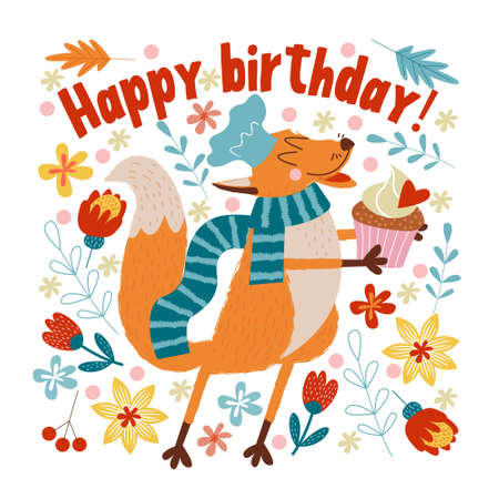 Happy Birthday. Vector cute greeting card. The Fox chef made a birthday cake for birthday.