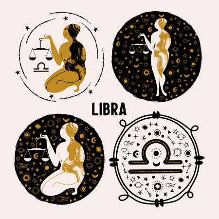 Libra. Constellation Of Libra. A naked woman holds a scale surrounded by stars. A set of vector round emblems
