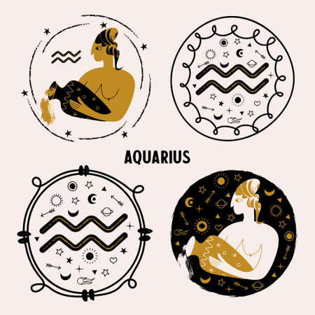 Horoscope and astrology. The zodiac sign Aquarius. Woman with a vase. The Aquarius woman. A set of round emblems. Vector illustration. 向量圖像