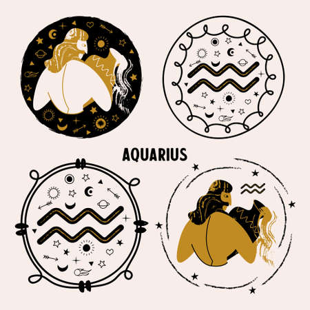 Horoscope and astrology. The zodiac sign Aquarius. Aquarius man with a vase. A set of vector round emblems.