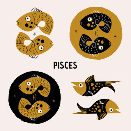 Sign of the Zodiac Pisces. Horoscope and astrology. Vector illustration. Set of round emblems.