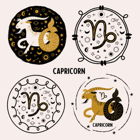 Capricorn. Zodiac sign. Capricorn on a black background among Golden stars, planets and comets. Horoscope and astrology. Constellation of Capricorn. Set of round vector emblem.