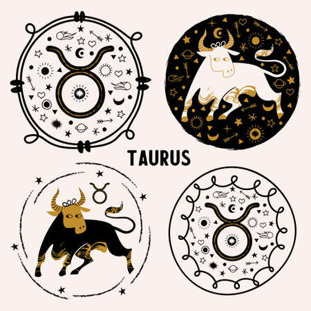Taurus is a sign of the zodiac. Horoscope and astrology. Round vector emblem.