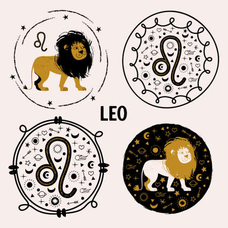 Sign of the zodiac Leo. Constellation of Leo. Set of vector round emblems in flat style. Horoscope and astrology. 向量圖像