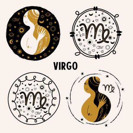 The constellation Virgo, the zodiac sign Virgo. Set of vector emblem. 向量圖像