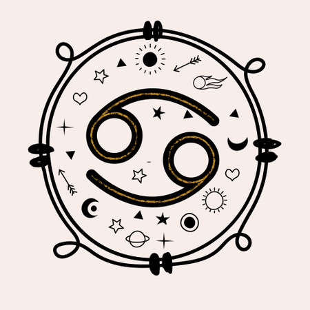 Cancer is a sign of the zodiac. Horoscope and astrology. Vector hand drawn illustration in a flat style on a light background.