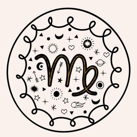 The constellation Virgo, the zodiac sign Virgo. Vector emblem.