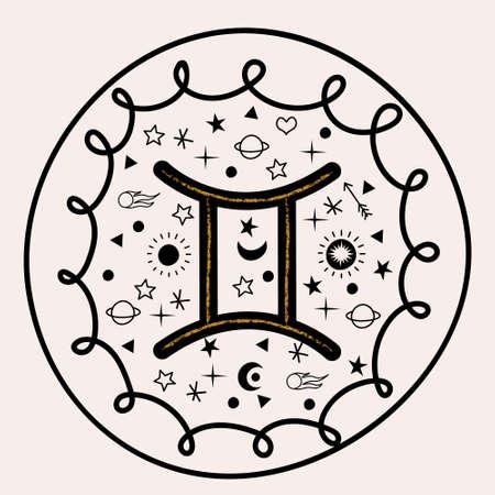 Gemini. Zodiac sign. Vector hand drawn illustration, round emblem of the constellation Gemini. 向量圖像