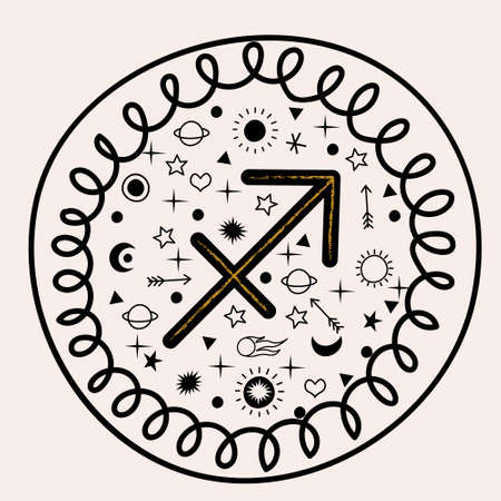 Sagittarius. Constellation Sagittarius. Vector isolated emblem on a light background.