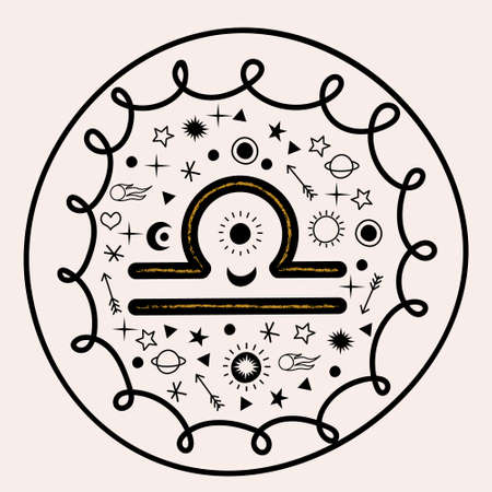 Scales. Constellation Of Libra. Vector round emblem and stars. Çizim