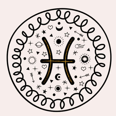 Sign of the Zodiac Pisces. Horoscope and astrology. Vector illustration. Round emblem.