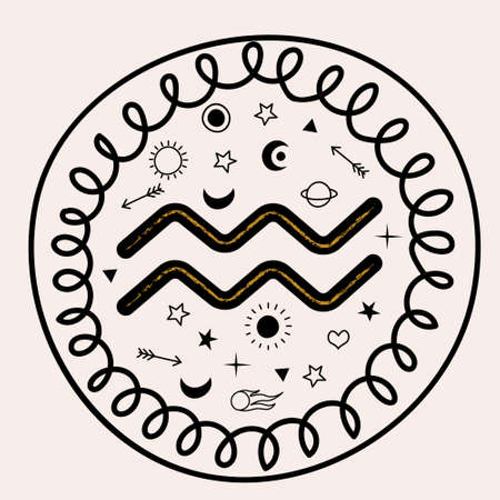 Horoscope and astrology. The zodiac sign Aquarius. Vector round hand drawn emblem.
