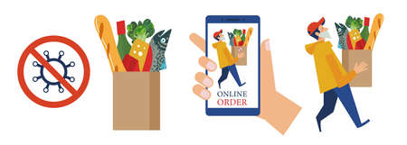 Contactless safe delivery of food to your home during the pandemic and quarantine. A courier wearing a medical mask delivers the order. Vector illustration. Çizim