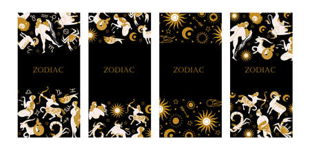 The signs of the zodiac, cosmic, esoteric symbols on a black background. A set of templates. Gold elements on a black background. Vector illustration. Çizim